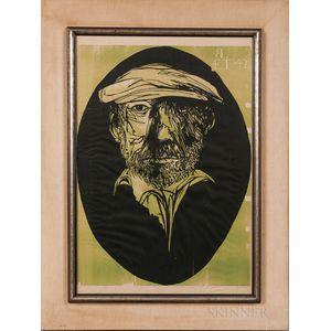 Leonard Baskin (American, 1922-2000)      Leonard Baskin at 42