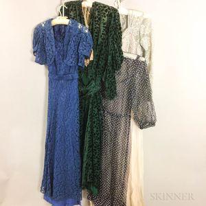 Four Vintage Dresses.