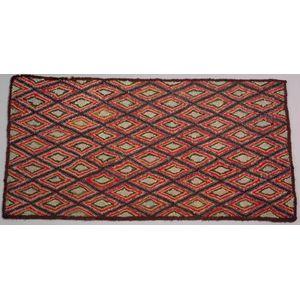 Wool Diamond Pattern Hooked Rug