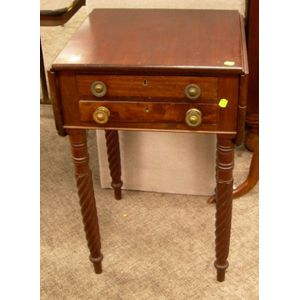 Late Federal Mahogany and Mahogany Veneer Drop-leaf Two-Drawer Work Table.
