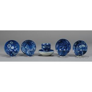 Seven Blue and White Transfer Decoratedware Tea Bowls with Matching Saucers