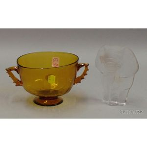 Danish Frosted Colorless Glass Elephant and a Venetian Glass Bowl