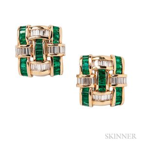 18kt Gold, Emerald, and Diamond Earclips, Charles Krypell