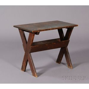 Small Blue-and Brown-painted Sawbuck Table