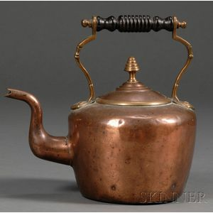 Small Copper and Brass Kettle