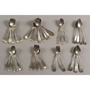 Fifty-three American Coin Silver Teaspoons