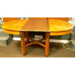 L. & J.G. Stickley Round Oak Dining Table with Crossed-stretcher Base