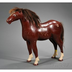 Carved and Painted Wooden Horse Figure