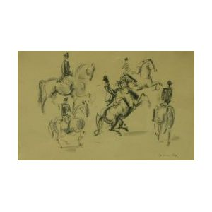 Framed Work on Paper of Horsemen