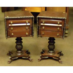Pair of Classical-style Carved Mahogany Drop-leaf Three-Drawer Work Tables.