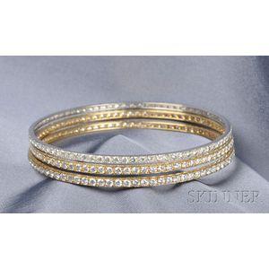 Three Diamond Bangles
