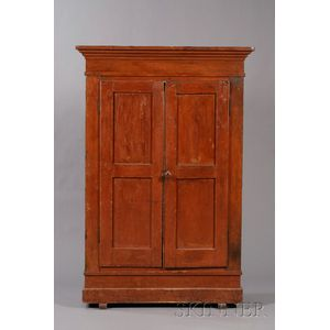 Red-painted Pine Wardrobe