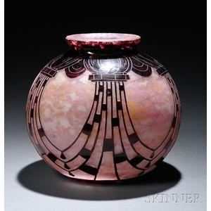 Le Verre Francais Cameo Glass Collier Vase