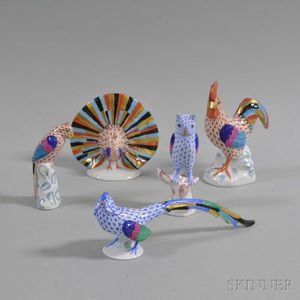 Five Herend Porcelain Bird Figures