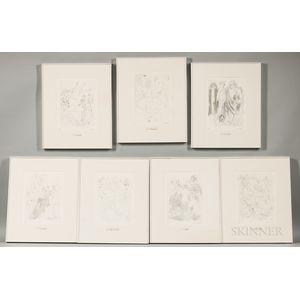 Mino Maccari (Italian, 1898-1989) Suite of Seven Framed Etchings: Gli Scampoli, La Drappeggiata, I Veli Pietosi, LAssortimento, Stoffe
