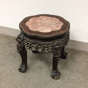 Marble-top Hardwood Stand
