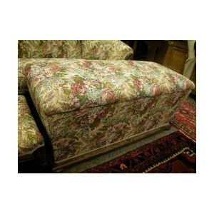 Brocade Upholstered Blanket Chest with Bun Feet.