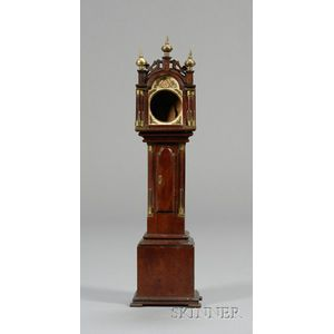 Miniature Mahogany Tall Case Clock Watch Hutch