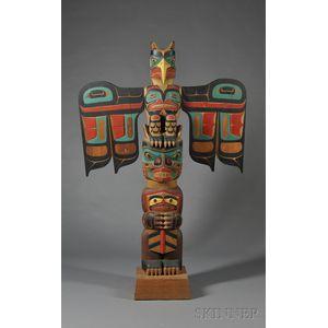 Northwest Coast Polychrome Carved Wood Totem Pole