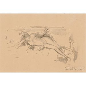 James Abbott McNeill Whistler (American, 1834-1903)      Nude Model, Reclining