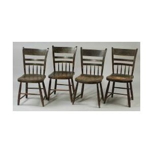 Set of Four Painted and Decorated Windsor Side Chairs and Three Assorted Windsor   Side Chairs.