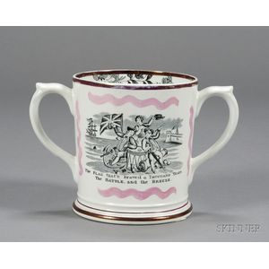 Transfer Decorated Staffordshire Pottery Loving Cup with Frog