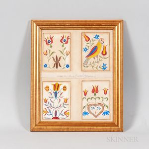 Four Framed Polychrome Watercolor Fraktur Bookplates