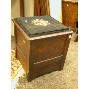 Late Victorian Needlepoint Upholstered Oak Commode Stool.