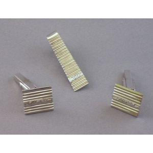 18kt White Gold and Diamond Cuff Links and Tie Bar.