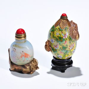 Two Painted Peking Glass Snuff Bottles