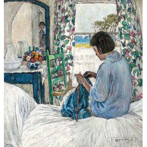 Esperanza Gabay (American, 1875-1963)      Woman Knitting in a Sunlit Bedroom