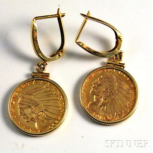 Pair of Two and a Half Dollar Indian Head Gold Coins Set as Earrings