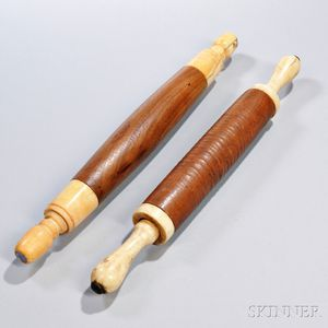 Two Turned Hardwood Ivory-handled Rolling Pins