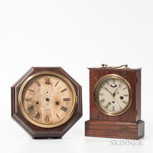 Two American Rosewood Veneered Lever Escapement Clocks