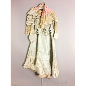 Two-piece Antique Silk and Lace Dress