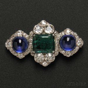 Platinum, Emerald Intaglio, Sapphire, and Diamond Brooch