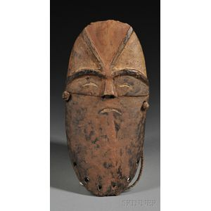 Rare Mbole Carved and Painted Wood Mask