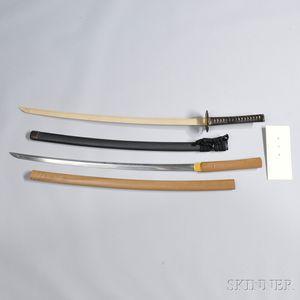 Japanese Katana with Shira-saya, Hilt, Scabbard, and Shinsa Documentation