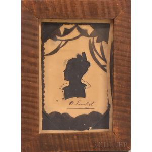 Framed Hollow-cut and Watercolor Silhouette of Olive Lambert