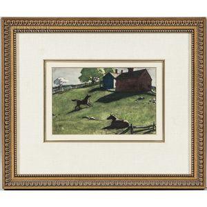 Aiden Lassell Ripley (American, 1896-1969)      Two Horses in a Spring Farm Landscape