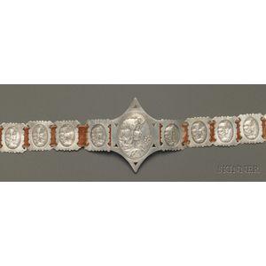 Art Nouveau/Aesthetic Movement Sterling Silver Panel Belt