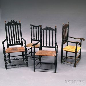 Four Black-painted Banister-back Chairs