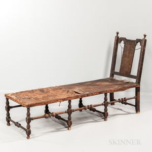 Queen Anne Turned and Black-painted Maple Day Bed