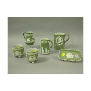 Six Light Green Wedgwood Jasperware Items