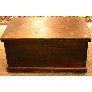 Wrought Iron Mounted Mahogany Dovetail Constructed Storage Chest.