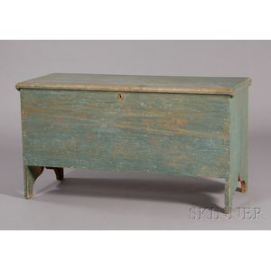 Blue-painted Six Board Chest