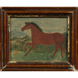 American School, 19th/20th Century      Portrait of a Horse in a Landscape.