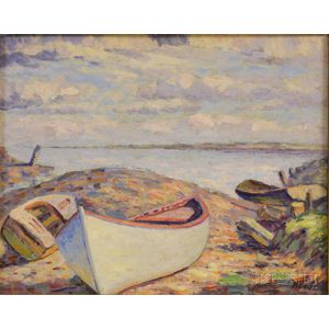 Howard Ellis (American, 1883-1962)      Double-sided Painting on Board: Beached Dinghies