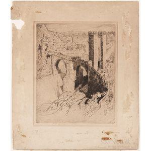 Joseph Pennell (American, 1860-1926)      Two Views: Bridge of Alcantara, Toledo