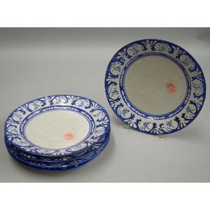 Four Dedham Pottery Rabbit Pattern Plates and a Fairbanks Crest and Rabbit Pattern   Plate